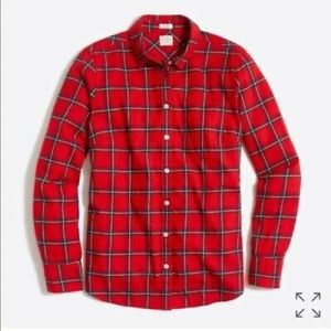 J. Crew Boy Fit Button Down Plaid Shirt Red